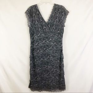 Marina Silver Lace Layer Sequin Formal Dress Sz 12
